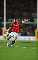 Rugby Union - 2017 British & Irish Lions Tour of New Zealand - Chiefs vs. British & Irish Lions<br /> <br /> Dan Biggar of The British and Irish Lions kicks a conversion  at FMG Stadium Waikato, Hamilton.<br /> <br /> COLORSPORT/LYNNE CAMERON