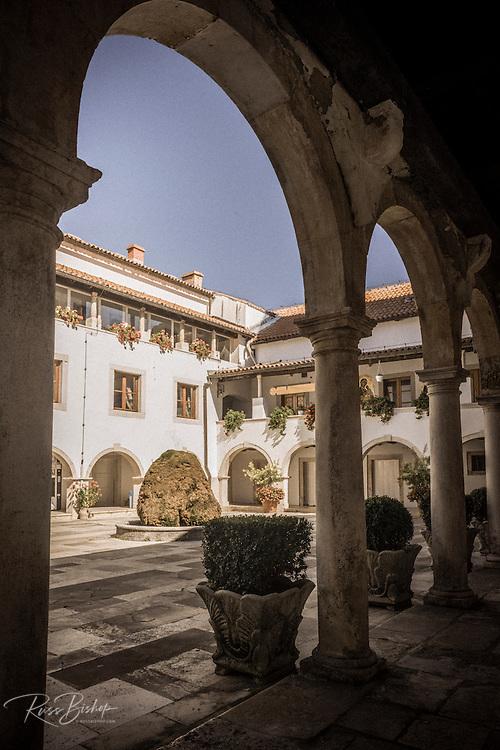 The abbey courtyard, Krka Monastery, Krka National Park, Dalmatia, Croatia