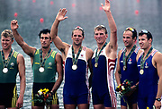 Atlanta, USA.  left AUS M2- Silver Medalist, David WEIGHTMAN and Robert SCOTT ,  centre, GBR M2-, Gold Medalist, Steve REDGRAVE and Matthew PINSENT, right,  FRA M2-, Jean-Christophe ROLLAND and Michel ANDRIEUX,  1996 Olympic Rowing Regatta Lake Lanier, Georgia [Mandatory Credit Peter Spurrier/ Intersport Images]