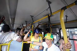 June 27, 2018 - Rio De Janeiro, Brazil - RIO DE JANEIRO, RJ - 27.06.2018: TORCEDORES DA SELEÇÃO NO RJ - Cariocas on the buses traveling to watch the game of the selection in Rio de Janeiro, RJ, this Wednesday (27) (Credit Image: © Nayra Halm/Fotoarena via ZUMA Press)
