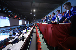 Press tribune at ice-hockey match Finland vs USA at Qualifying round Group F of IIHF WC 2008 in Halifax, on May 11, 2008 in Metro Center, Halifax, Nova Scotia, Canada. (Photo by Vid Ponikvar / Sportal Images)