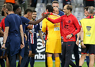 Coach of PSG Thomas Tuchel celebrates the victory with his players following the French Ligue Cup final match between Paris Saint-Germain (PSG) and Olympique Lyonnais (OL, Lyon) on July 31, 2020 at the Stade de France, in Saint-Denis, near Paris, France - Photo Juan Soliz / ProSportsImages / DPPI