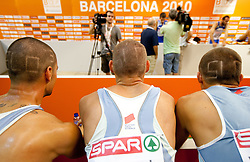 Marko Macuh, Uros Jovanovic and Erik Voncina of Slovenia with a special haircut for the 4x400m Mens Relay Heats during day five of the 20th European Athletics Championships at the Olympic Stadium on July 31, 2010 in Barcelona, Spain.  (Photo by Vid Ponikvar / Sportida)