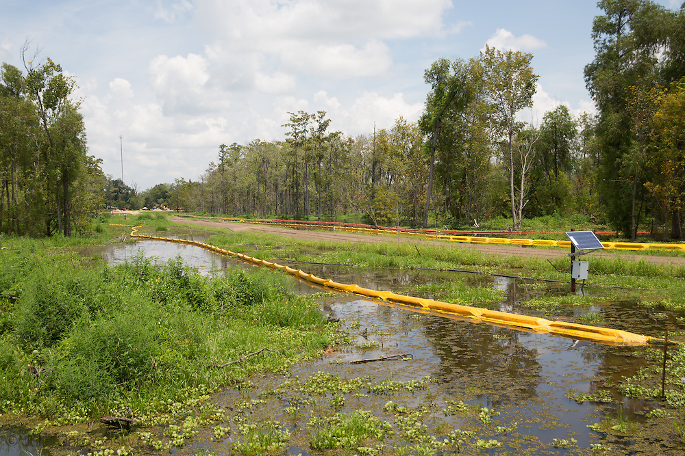 Boom all around the area the sinkhole is in in Bayou Corne set up to prevent oil and polluted debris from spreading.