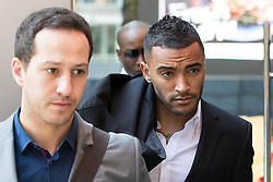 © Licensed to London News Pictures . 12/05/2016 . Manchester, UK . Leicester City footballer , DANNY SIMPSON , arrives at Manchester Magistrates' Court . Simpson is applying to have a community order revoked , after being found guilty of strangling the mother of his child , Stephanie Ward , in June 2015 . Photo credit : Joel Goodman/LNP