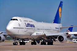 Lufthansa jetliner preparing to depart Houston's Intercontinental Airport