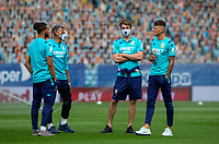 Leeds United's Tyler Roberts, Kalvin Phillips, Patrick Bamford and Ben White chat before the game<br /> <br /> Photographer Alex Dodd/CameraSport<br /> <br /> The EFL Sky Bet Championship - Leeds United v Charlton Athletic - Wednesday July 22nd 2020 - Elland Road - Leeds <br /> <br /> World Copyright © 2020 CameraSport. All rights reserved. 43 Linden Ave. Countesthorpe. Leicester. England. LE8 5PG - Tel: +44 (0) 116 277 4147 - admin@camerasport.com - www.camerasport.com