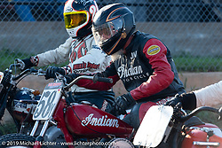 Jim Ottele (no. 58y) on his Indian racer at the start of the Hand Shift finals at the Spirit of Sturgis races at the fairgrounds during the Sturgis Black Hills Motorcycle Rally. Sturgis, SD, USA. Monday, August 5, 2019. Photography ©2019 Michael Lichter.