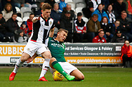 Cammy Smith of St Mirren against Ryan Porteous of Hiberninan FC during the Ladbrokes Scottish Premiership match between St Mirren and Hibernian at the Simple Digital Arena, Paisley, Scotland on 29th September 2018.