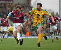 Picture: Henry Browne.<br /> Date: 21/02/2004.<br /> Norwich City v West Ham United Nationwide First Division.<br /> <br /> David Connolly of West Ham gets in front of Norwich's Malky Mackay.