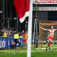 "The Netherlands, Deventer, 13-05-2010.<br /> Football, National, Play Off's.<br /> Go Ahead Eagles vs Willem II : 1-0<br /> Koen van der Biezen, substitute, scores in extra time the winning goal for Go Ahead Eagles and the ""Adelaarshorst"", the Eagles stadium, starts celebrating the victory.<br /> Foto : Klaas Jan van der Weij"