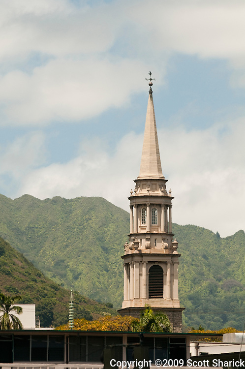 The Koolau Mountains with the steeple of the Central Union church in Honolulu, Hawaii.