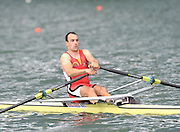 Lucerne, SWITZERLAND, BEL M 1X, Tim MAEYENS, moves away from the start, of the third round of the  2009 FISA World Cup,  on the Rottsee regatta Course, Friday  10/07/2009  [Mandatory Credit Peter Spurrier/ Intersport Images].