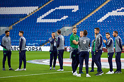 CARDIFF, WALES - Monday, October 9, 2017: Republic of Ireland players on the pitch before the 2018 FIFA World Cup Qualifying Group D match between Wales and Republic of Ireland at the Cardiff City Stadium. (Pic by Paul Greenwood/Propaganda)