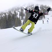 Snowboarding Mammoth Mountain in April. Mammoth has a spring ski season that often lasts into summer.