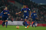 Marcus Rashford of Manchester Utd in action.Premier league match, Stoke City v Manchester Utd at the Bet365 Stadium in Stoke on Trent, Staffs on Saturday 21st January 2017.<br /> pic by Andrew Orchard, Andrew Orchard sports photography.