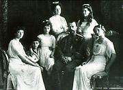 The Romanov Family in year 1913. From right to left:Grand Duchesses Olga, Maria, Tsar Nicholas II, Empress Alexandra, GD Anastasia, Tsarevich Alexei, and GD Tatiana.