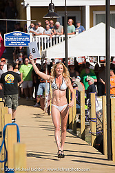 Kristi Verhoff at the Annual Bikini contest hosted by Jody Perewitz at the Naswa Beach Resort during Laconia Motorcycle Week 2016. NH, USA. Thursday June 16, 2016.  Photography ©2016 Michael Lichter.