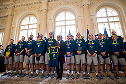 """President of Slovenia, Borut Pahor with players during award ceremony """"Zlati red za zasluge"""" for Basketball association of Slovenia on the day of statehood in the presidential palace, on June 25, 2018 in Ljubljana, Slovenia. Photo by Urban Urbanc / Sportida"""