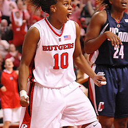 Feb 5, 2008; Piscataway, NJ, USA; Rutgers guard Epiphanny Prince (10) celebrates after drawing a foul and sinking a basket while leading #7 Rutgers to a come-from-behind victory over #1 Connecticut, 73-71.  Prince scored 27 of her career-high 33 points in the second half as Rutgers erased a nine point halftime deficit at Louis Brown Athletic Center.