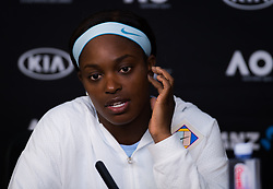January 16, 2019 - Melbourne, AUSTRALIA - Sloane Stephens of the United States talks to the media after her second-round match at the 2019 Australian Open Grand Slam tennis tournament (Credit Image: © AFP7 via ZUMA Wire)