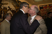 Jay Jopling kissing  George. Gilbert and George SonOfAGod  Pictures. White Cube. 19  January 2006.  ONE TIME USE ONLY - DO NOT ARCHIVE  © Copyright Photograph by Dafydd Jones 66 Stockwell Park Rd. London SW9 0DA Tel 020 7733 0108 www.dafjones.com