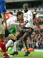 Gustavo Poyet (Spurs) celebrates his winning goal with Ledley King.  Tottenham Hotspur v Portsmouth. 7/2/2004. Credit :Digitalsportt/Andrew Cowie.