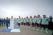 """Putney, London, Varsity Boat Race, 07/04/2019, CUWMC President, Abagail PARKER, stands with the Trophy waiting to """"Toss the Coin"""" to determine the crews Station for the race, Embankment, Oxford V Cambridge, Men's Race, Women's Race, Championship Course,<br /> [Mandatory Credit: Patrick WHITE], Sunday,  07/04/2019,  11:28:16 am,"""