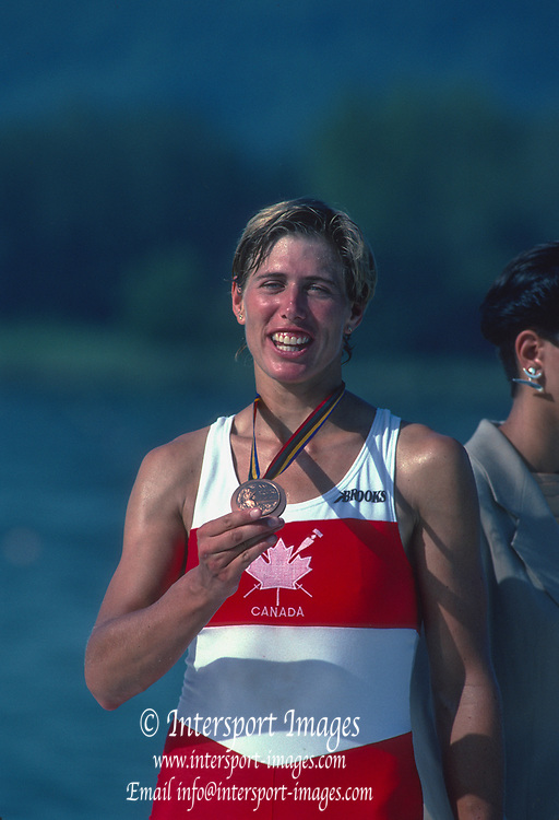 Barcelona Olympic Games 1992<br /> Olympic Regatta - Lake Banyoles<br /> Bronze Medalist, CAN W1X. Silken LAUMANN, with her Bronze Medal,  {Mandatory Credit: © Peter Spurrier/Intersport Images]