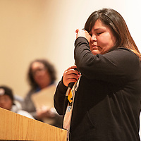 """Sharmayne Thompson gets emotional speaking at the """"Limb, Life and Bread on Mining in New Mexico Exhibit,"""" Wednesday, Oct. 17, 2018 at the University of New Mexico-Gallup. Thompson spoke about her grandfather working as a miner in Church Rock and the various health issues he has lived  with."""