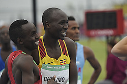 October 11, 2018 - Buenos Aires, Buenos Aires, Argentina - JACKSON KAVESA MUEMA of Kenya (L) and OSCAR CHELiMO of Uganda at the end of the Men's 3000m Stage 1 which CHELIMO won during the Buenos Aires 2018 Youth Olympic Games. (Credit Image: © Patricio Murphy/ZUMA Wire)
