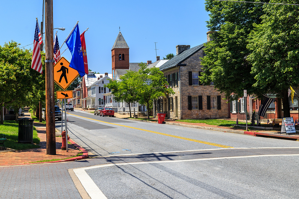 Sharpsburg, MD, USA - May 24, 2018: The main street of Sharpsburg is a quaint and historic town, known for its close proximity to Antietam, the site of a major battle in the American Civil War.