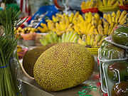 29 FEBRUARY 2020 - ST. PAUL, MINNESOTA: A jackfruit for sale in the Hmong Village. Jackfruit are native to Southeast Asia. Thousands of Hmong people, originally from the mountains of central Laos, settled in the Twin Cities in the late 1970s and early 1980s. Most were refugees displaced by the American war in Southeast Asia. According to the 2010 U.S. Census, there are now 66,000 ethnic Hmong in the Minneapolis-St. Paul area, making it the largest urban Hmong population in the world. Hmong Village, the largest retail and restaurant complex that serves the Hmong community, has more than 250 shops and 17 restaurants.   PHOTO BY JACK KURTZ