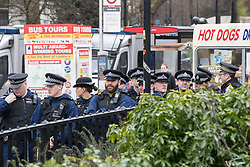 "© Licensed to London News Pictures. 11/03/2018. London, UK. A serial of police at the demonstration . Alt right group Generation Identity and other far-right groups hold a demonstration at Speakers' Corner in Hyde Park , opposed by antifascists . Generation Identity supporters Martin Sellner and Brittany Pettibone were due to speak at the demo but were arrested and detained by police when they arrived in the UK , also forcing them to cancel an appearance at a UKIP "" Young Independence "" youth event , which in turn was reportedly cancelled amid security concerns . Photo credit: Joel Goodman/LNP"