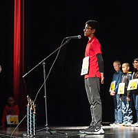 Srikar Venigalla, 10, from Red Rock Elementary School at the Gallup-McKinley County Schools annual spelling bee, Wednesday, Jan. 16 at Gallup High School. Venigalla won second place and will go on to compete in the state spelling bee at Sandia Prep in March.