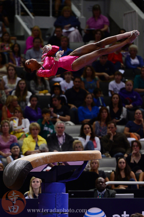 June 29, 2012; San Jose, CA, USA; Gabby Douglas performs on the vault during the 2012 USA Gymnastics Olympic Team Trials at HP Pavilion.