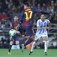 16.01.2013 Barcelona, Spain. Spanish Cup, quarter-final first leg. Picture show  Pedro in action during game FC Barcelona v Malaga at Camp Nou.