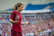 Karen Carney (England) asking the supporters to increase their support prior to her corner shot during the FIFA Women's World Cup UEFA warm up match between England Women and New Zealand Women at the American Express Community Stadium, Brighton and Hove, England on 1 June 2019.