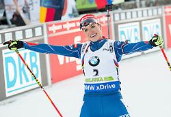 Gabriela Soukalova (CZE) celebrates at finish line after placed second  during Women 12.5 km Mass Start at day 4 of IBU Biathlon World Cup 2015/16 Pokljuka, on December 20, 2015 in Rudno polje, Pokljuka, Slovenia. Photo by Vid Ponikvar / Sportida