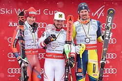 18.03.2018, Aare, SWE, FIS Weltcup Ski Alpin, Finale, Aare, Slalom Weltcup, Herren, Siegerehrung, im Bild v.l. Henrik Kristoffersen (NOR, Gesamt Weltcup 2. Platz, Slalom Weltcup 2. Platz, Rieseslalom Weltcup 2. Platz), Marcel Hirscher (AUT, Gesamt Weltcup 1. Platz und Slalom Weltcup 1. Platz), Andre Myhrer (SWE, Slalom Weltcup 3. Platz) // f.l. Overall World Cup second placed Giant Slalom World Cup second placed and Slalom World Cup second placed Henrik Kristoffersen of Norway Overall World Cup winner Slalom World Cup winner and Giant Slalom World Cup winner Marcel Hirscher of Austria Slalom World Cup third placed Andre Myhrer of Sweden during the winner Ceremony for the men's Slalom Worlcup of FIS Ski Alpine World Cup finals in Aare, Sweden on 2018/03/18. EXPA Pictures © 2018, PhotoCredit: EXPA/ Johann Groder