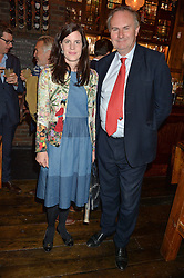 MR WILLIAM & LADY LAURA CASH at the opening party of Mr Fogg's Tavern, 58 St.Martin's Lane, London hosted by William Sitwell on 8th October 2015.
