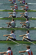 Munich, GERMANY 2001 FISA World cup Regatta. Start of the men's double scull, semi final. [Mandatory Credit Peter Spurrier Intersport Images] 20010714 FISA World Cup. Munich, GERMANY