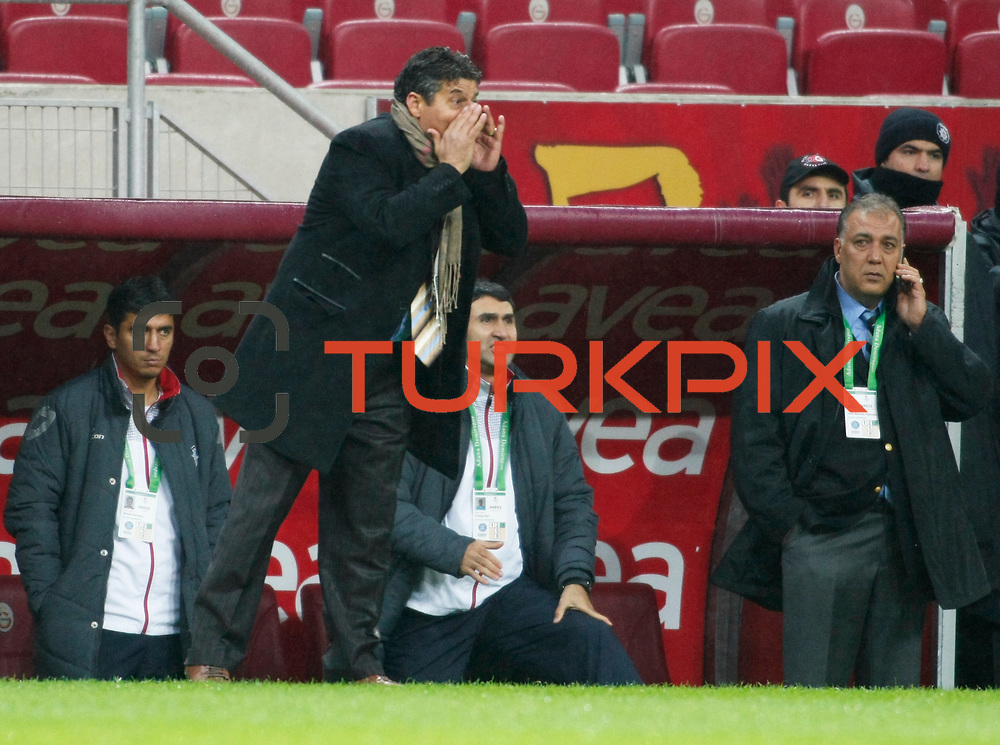 AdanaDemirspor's coach Durmus Ali Colak (L) during their Turkey Cup matchday 3 soccer match Galatasaray between AdanaDemirspor at the Turk Telekom Arena at Aslantepe in Istanbul Turkey on Tuesday 10 January 2012. Photo by TURKPIX
