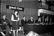 30/03/1963<br /> 03/30/1963<br /> 30 March 1963<br /> Gael - Linn Annual Debating Competition  for Secondary Schools awards presented at the Shelbourne Hotel, Dublin. Marie Ni Lafaigh, Captain of the Colaiste Mhuire Convent, Tourmakeady (Mayo) team, speaking in the final. Also in the picture are Col. Eoin O'Neill, Head of Command and Staff School, Curragh (Chairman of the Adjudicators); Aongus O'h-Eochaidh (Bord Gael-Linn); Domhnall O'Morain (Chairman Gael-Linn) and Dr. P. Hillery, Minister for Education.