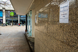"""Sheffield Friday 3 April 2020 <br /> Coronavirus Covid-19 """"Reserved for Masserella Customers Only"""" sign overlooks where the cafes tables would have been set out were it not for the fact it has been closed by the Covid-19 crisis. The Moore Sheffield<br /> <br /> 3 April 2020<br /> <br /> www.pauldaviddrabble.co.uk<br /> All Images Copyright Paul David Drabble - <br /> All rights Reserved - <br /> Moral Rights Asserted -"""