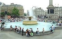 Trafalgar Square, London, UK, with fountain & base of Nelson's Pillar, 199808004.<br /> <br /> Copyright Image from Victor Patterson, Belfast, UK<br /> <br /> t: +44 28 9066 1296 (from Rep of Ireland 048 9066 1296)<br /> m: +44 7802 353836<br /> e: victorpattersonbelfast@gmail.com<br /> <br /> www.images4media.com<br /> <br /> Please see my full Terms and Conditions of Use at https://www.images4media.com/p/terms-conditions - it is IMPORTANT that you familiarise yourself with them.<br /> <br /> Images used online incur an additional cost. This cost should be agreed in writing in advance. Online images must be visibly watermarked i.e. © Victor Patterson or that of the named photographer within the body of the image. The original metadata must not be deleted from images used online.<br /> <br /> This image is only available for the use of the download recipient i.e. television station, newspaper, magazine, book publisher, etc, and must not be passed on to a third party. It is also downloaded on condition that each and every usage is notified within 7 days to victorpattersonbelfast@gmail.com.<br /> <br /> The right of Victor Patterson (or the named photographer) to be identified as the author is asserted in accordance with The Copyright Designs And Patents Act (1988). All moral rights are asserted.