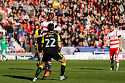 Doncaster Rovers midfielder Rodney Kongolo (7), on loan from Manchester City, heads on during the EFL Sky Bet League 1 match between Doncaster Rovers and Rotherham United at the Keepmoat Stadium, Doncaster, England on 11 November 2017. Photo by Simon Davies.