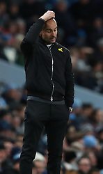 Manchester City's manager Pep Guardiola stands on the touch line