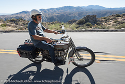 Peter Reeves of England riding his 1915 Harley-Davidson on the Palms to Pines Scenic Byway on the last day of the Motorcycle Cannonball Race of the Century. Stage-15 ride from Palm Desert, CA to Carlsbad, CA. USA. Sunday September 25, 2016. Photography ©2016 Michael Lichter.