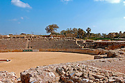 The arched spectators seats at the Hippodrome built by king Herod first century BC in Caesarea, a town built by Herod the Great about 25 - 13 BC, lies on the sea-coast of Israel about halfway between Tel Aviv and Haifa, Remains of all the principal buildings erected by Herod existed down to the end of the 19th century. Remains of the medieval town are also visible, consisting of the walls (one-tenth the area of the Roman city), the castle, the site of the modest Crusader cathedral and church.